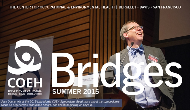 Jack Dennerlein at the 2015 Lela Morris COEH Symposium. Read more about the symposium's focus on ergonomics, workplace design, and health beginning on page 8 of the Bridges Newsletter